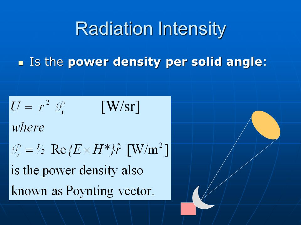 Radiation Intensity [W/sr] Is the power density per solid angle: